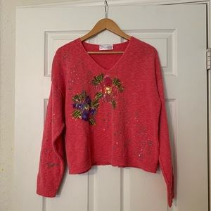 Cropped V Neck Hand Painted Sweater